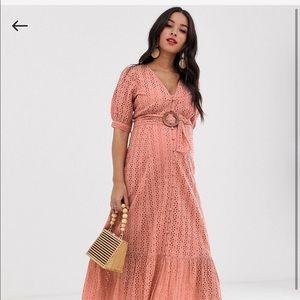 ASOS maternity eyelet belted dress